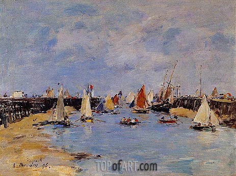 Trouville, the Jettys, Low Tide, 1896 | Eugene Boudin | Gemälde Reproduktion