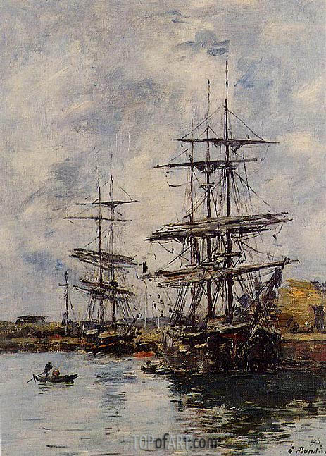 Deauville, Ships at Dock, 1896 | Eugene Boudin | Painting Reproduction