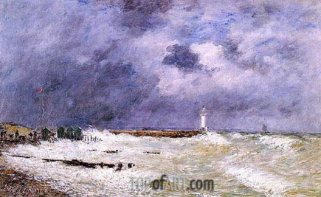 Eugene Boudin | Le Havre, Heavy Winds off of Frascati, 1896