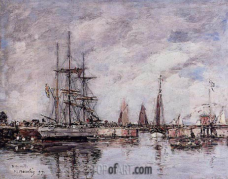 Eugene Boudin | Deauville, Norwegian Three-Master Leaving Port, 1897