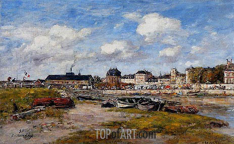 The Port of Trouville, Low Tide, 1897 | Eugene Boudin | Painting Reproduction