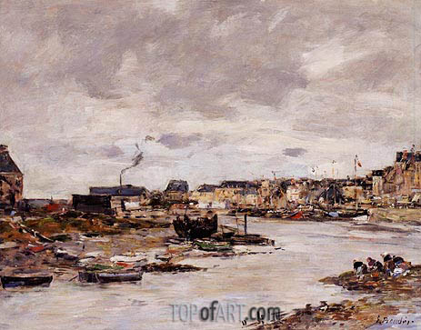 The Inner Port of Trouville at Low Tide, undated | Eugene Boudin | Painting Reproduction