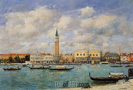 Venice, The Campanile, View of Canal San Marco, 1895 | Eugene Boudin | Painting Reproduction