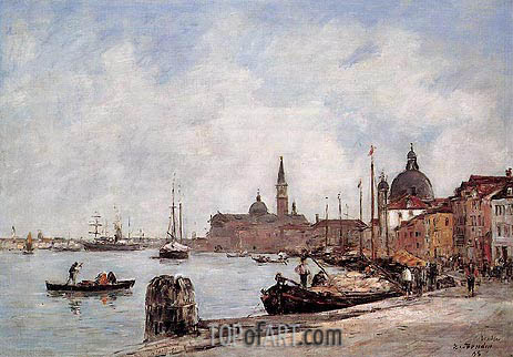 Eugene Boudin | Venice, The Dock of the Guidecca, 1895