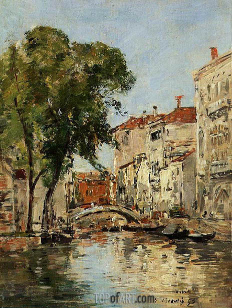 A Small Canal in Venice, 1895 | Eugene Boudin | Painting Reproduction