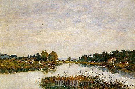Eugene Boudin | The Still River at Deauville, 1895