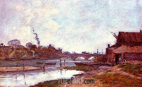 Bridge on the River Touques at Deauville, 1895 | Eugene Boudin | Painting Reproduction