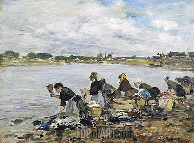 Laundresses on the Banks of the Touques, 1895 | Eugene Boudin | Painting Reproduction