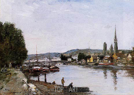Rouen, View from the Queen's Way, 1895 | Eugene Boudin | Painting Reproduction
