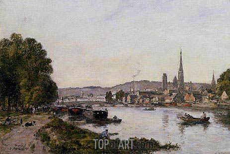 Rouen, View over the River Seine, 1895 | Eugene Boudin | Gemälde Reproduktion