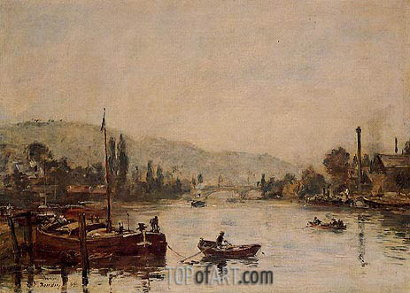 Rouen, the Sante-Catherine Coast, Morning Mist, 1895 | Eugene Boudin | Gemälde Reproduktion