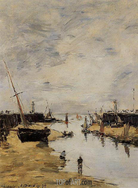 Trouville, the Jettys, Low Tide, 1894 | Eugene Boudin | Painting Reproduction