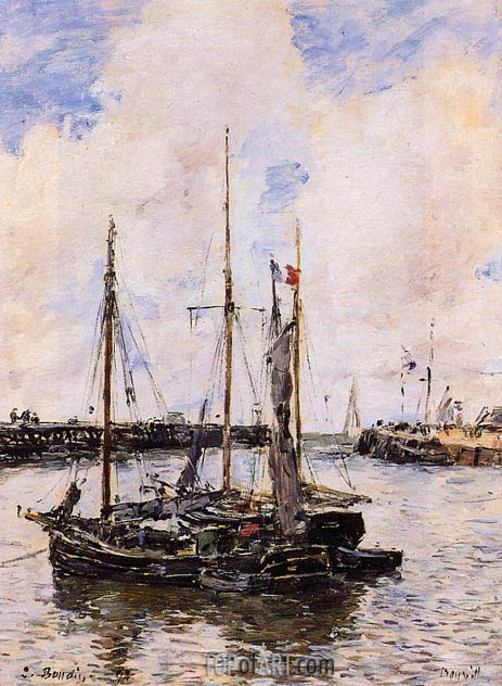 Entrance to the Port of Trouville, 1894 | Eugene Boudin | Painting Reproduction
