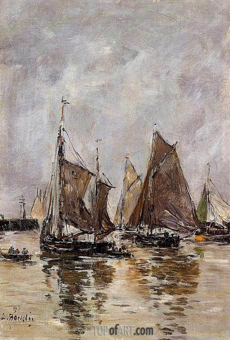 Trouville, Sardine Boats Getting Under Way, 1894 | Eugene Boudin | Painting Reproduction