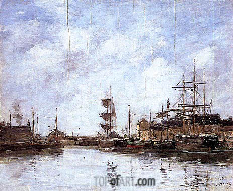 Eugene Boudin | Fecamp, the Inner Harbor, 1894