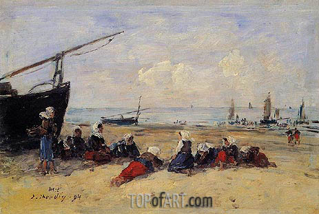 Berck, Fisherwomen on the Beach, Low Tide, 1894 | Eugene Boudin | Painting Reproduction
