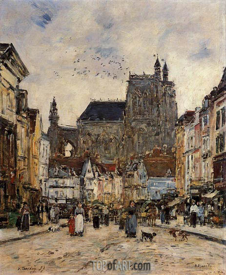 Abbeville, Street and the Church of Saint-Vulfran, 1894 | Eugene Boudin | Painting Reproduction