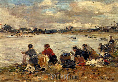 Laundresses on the Banks of the Touques, c.1894/97 | Eugene Boudin | Painting Reproduction