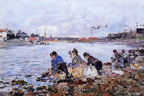 Laundress on the Banks of the Touques, c.1894/97 | Eugene Boudin | Painting Reproduction
