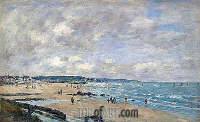 Eugene Boudin | The Beach at Trouville, 1893