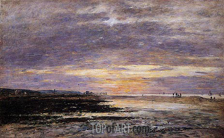 Deauville, Sunset on the Beach, 1893 | Eugene Boudin | Painting Reproduction