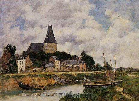 Quillebeuf, View of the Church from the Canal, 1893 | Eugene Boudin | Gemälde Reproduktion