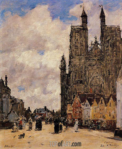 Abbeville, Street and the Church of Saint-Volfran, 1892 | Eugene Boudin | Painting Reproduction