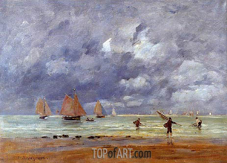 Eugene Boudin | Fishermen and Sailboats near Trouville, 1892