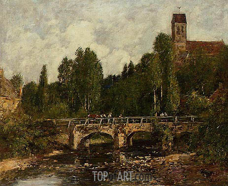 Eugene Boudin | Saint-Cenery, the Church and the Bridge, 1892