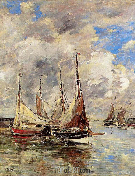 Trouville, the Piers, High Tide, c.1892/96 | Eugene Boudin | Gemälde Reproduktion