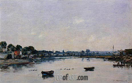Eugene Boudin | The Banks of the Touques, 1893