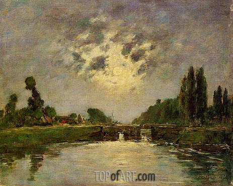 Saint-Valery-sur-Somme, the Bridge on the Lock, 1891 | Eugene Boudin | Painting Reproduction