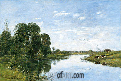 The River Touques at Saint-Arnoult, 1895 | Eugene Boudin | Painting Reproduction
