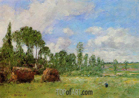 Oiseme at Harvest Time, 1891 | Eugene Boudin | Painting Reproduction