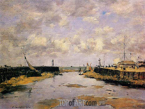 Eugene Boudin | Trouville, the Jettys, Low Tide, 1890