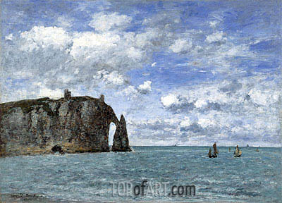 Etretat, The Cliff of Aval, 1890 | Eugene Boudin| Painting Reproduction