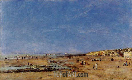 Trouville, Panorama of the Beach, 1890 | Eugene Boudin | Painting Reproduction