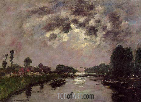 Saint-valery-sur-Somme, the Canal d'Abbeville, 1890 | Eugene Boudin | Painting Reproduction