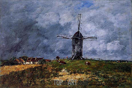 Cayeux. Windmill in the Countryside, Morning, 1890 | Eugene Boudin | Painting Reproduction