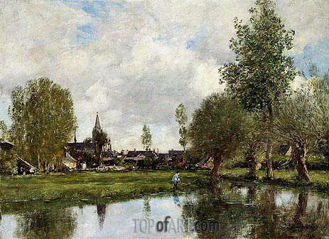 Eugene Boudin | Village around Dunkirk, 1889