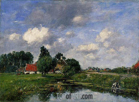 River in the Vicinity of Dunkirk, 1889 | Eugene Boudin | Painting Reproduction