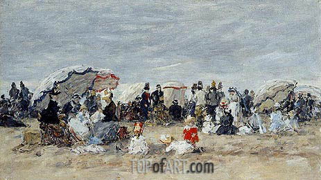 Trouville, Beach Scene, c.1888/95 | Eugene Boudin | Painting Reproduction
