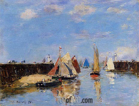 The Port of Trouville, 1886 | Eugene Boudin | Painting Reproduction