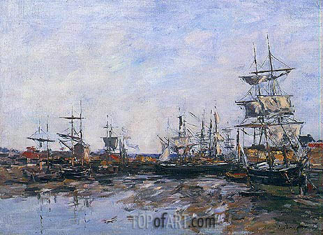 Trouville, the Port at Low Tide, 1887 | Eugene Boudin | Gemälde Reproduktion