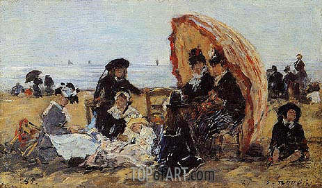 Trouville, on the Beach Sheltered by a Parasol, 1885 | Eugene Boudin | Gemälde Reproduktion