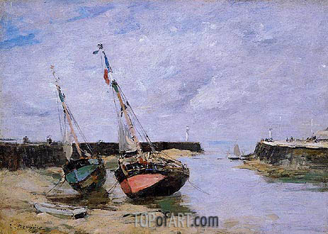 Trouville, the Jettys, Low Tide, c.1885/90 | Eugene Boudin | Painting Reproduction