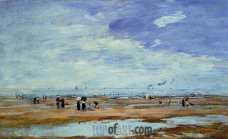 Deauville, the Beach, Low Tide, c.1885/90 | Eugene Boudin | Painting Reproduction
