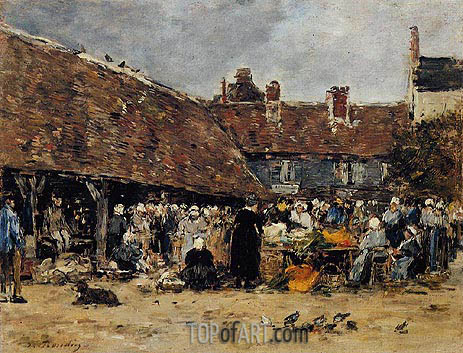 Eugene Boudin | Market at Trouville, 1883