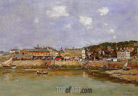 The Port of Trouville, the Market Place, 1884 | Eugene Boudin | Painting Reproduction