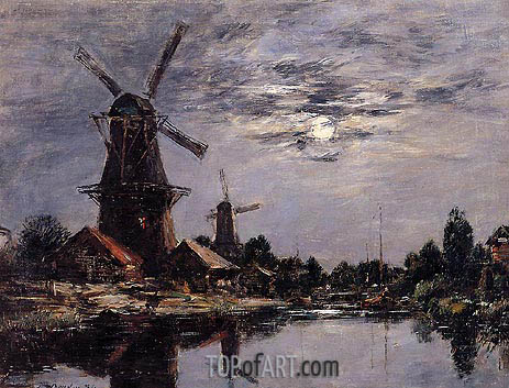 Eugene Boudin | Windmills and Canal near Dordrecht, 1884